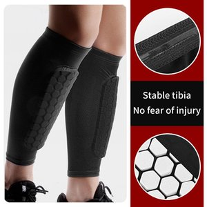 Wholesale knee elbow pads soccer resale online - Outdoor Sports Football Basketball Soccer Shin Guard Pads Calf Compression Sleeve Foot Protective Gear Shield Sleeves Elbow Knee