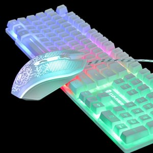 Wholesale backlit mechanical keyboard resale online - Rainbow Backlit Gaming Keyboard T6 Luminous Mouse Set Desktop Computer Game Mechanical Hand Feel ForPC PS4 PS3 Xbox One Keyboards