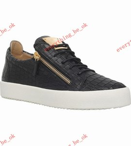 Wholesale italian low sneakers for sale - Group buy HOT Italian luxe casual shoes zipper men s and women s low top flat top real shoes men s leather sports shoes sneakers