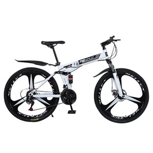 Wholesale 26 bikes resale online - New White inch speed folding mountain bike spoke wheel dual suspension bike for adult