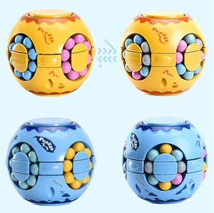 Wholesale toy spinner tops resale online - Color Magic Bean Cube Puzzle Kids Intelligence Toys Hand Spinner Gifts Fidget Desktop Spinning Top Creative style DHL Free