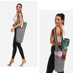 Wholesale yoga bag zipper for sale - Group buy Portable Printed Canvas Yoga Mat Bag Multi function Shoulder Storage Case with Zipper Pocket