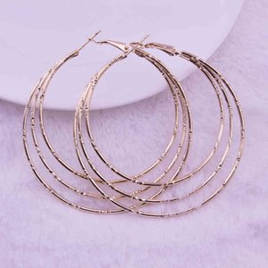 Wholesale good earring design resale online - yutong Simple Design Good Quality Large Circle Multi Color Spiral Punk Round Big Hoop Earring for Women Fashion Jewelry Brincos
