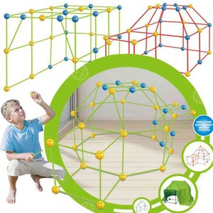 Wholesale tent tunnels for kids resale online - Castles Tunnels Tent DIY Sticks Kids sports Games Construction Fort Building Kit Hoy Gift globbles balls outdoor Toys for child