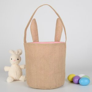 Wholesale jute totes resale online - Easter Rabbit Ear Gift Bag Easter Bunny Ears Candy Gift Basket Fashion Easter Jute Cloth Tote Bags Pouch Festival Decoration DBC BH4620