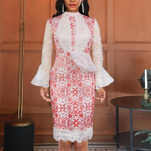 Wholesale women occasion dress sleeve resale online - Women Pink Party Dress Patchwork White Long Mesh Sleeve Bodycon Celebrate Event Occasion Female Vestidos Fashion XL African Casual Dresses