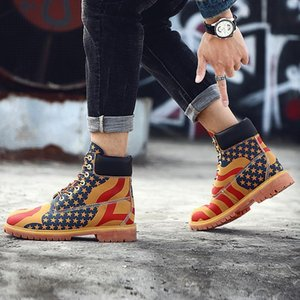 Wholesale winter timber for sale - Group buy Yellow Leather Ankle Timber Casual land Motorcycle Boots Waterproof Bot Men Winter Shoes Camouflage