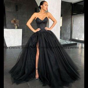 vestido de fiesta largo Arabic Saudi Prom Dress Sweetheart Side Split Tulle Top Beads Quinceanera Party Gowns Evening Wear
