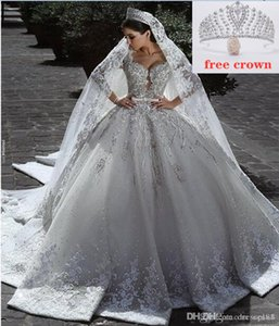 Wholesale african wedding dresses resale online - 2021 Vestidos De Novia Vintage Luxury Ball Gown Long Sleeve Lace Dresses African Plus Size muslim wedding dress Beads Zuhair Murad Bridal Gowns