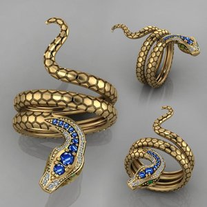 Wholesale golden rings for sale - Group buy Fashion Steric Golden Zircon Snake Opening Adjustable Ring Men Women Punk Hip Hop Pary Jewelry Accessories Gift T2