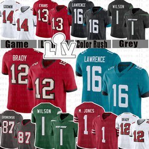 jerseys venda por atacado-87 Rob Gronkowski Tom Brady Trevor Lawrence Football Jersey Zach Wilson Mac Jones Mike Evans Chris Godwin Devin Branco Fournette Sapp