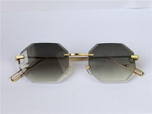 diamanten schneiden großhandel-Männer Sonnenbrille Vintage Piccadilly Unregelmäßige Randlose Diamant Cut Linse Retro Avantgarde UV400 Licht Farbdekoration Sommerform mit Box