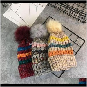 Wholesale c c beanie for sale - Group buy Headwears Athletic Outdoor Accs Sports Outdoors Cashmere Thickening Beanies Hats With Hairy Ball Sleeve Head Knitted Hat Multi Color C