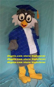Wholesale doctor s for sale - Group buy Wise Blue Grey Doctor Owlet Owl Adult Mascot Costume Mascotte With Big Bluely Doctorial Hat Blues Coat Gray Pants No Free Ship