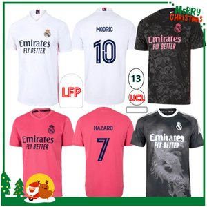 kits de futebol esportivo venda por atacado-20 Real Madrid Soccer Jersey Benzema Vini Jr Modric Asensio Sergio Ramos Hazard Homens adultos Kit Kids Sports Football Shirt