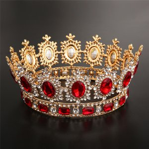 ingrosso grandi corone per il matrimonio-Bridal Crown Queen Rhinestone Crystals Royal Wedding Crowns Crystal Stone Pietra Rosso Big Gold Fascia Capelli Studio Studio Stampaggio Party Tiaras