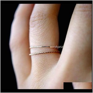 Wholesale golden rings resale online - Band Rings Trendy Metal Alloy Plating Two Piece Set Twist Simple Golden Fine Tail Knuckle Hand Finger Ring Women Wedding Gifts Accesso Qobw