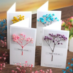 Wholesale birthday cards resale online - Flowers Greeting Cards Gypsophila dried flower handwritten blessing Party birthday gift card wedding invitations