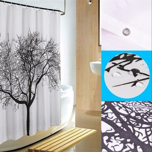 Wholesale shower curtains fabric resale online - Black Tree Design Shower Curtains Home Bathroom Decor Polyester Shower Curtain Waterproof Fabric Bath Curtain with Hooks cm R2