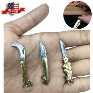 Wholesale small stainless steel pocket knives resale online - Small Mini Knife Folding Pocket Keychain Brass Blade Stainless Steel US