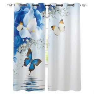 Wholesale window surfaces resale online - Lily Flowers Butterfly Water Surface Curtains For Living Room Bedroom Window Treatment Blinds Finished Drapes Kitchen Curtain