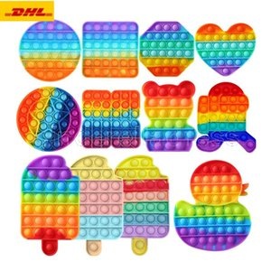 DHL 50 pcs Rainbow Funny Pops It Fidget Toy Antistress Toys For Adult Children Push Bubble Fidget Sensory Autism Special Needs Anxiety Stress Gifts