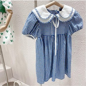 Wholesale dress pans for sale - Group buy 2021 kids clothing Lovely dress pet pan collar short sleeve plaid print cotton girl Child elegant ins dresses