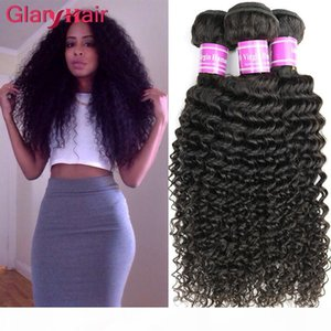 Wholesale glary for sale - Group buy Glary Unprocessed Brazilian Virgin Kinky Curly Hair Extensions Remy Human Hair Weaves Bundles Cheap Brazilian Human Kinky Curly Hair Wefts