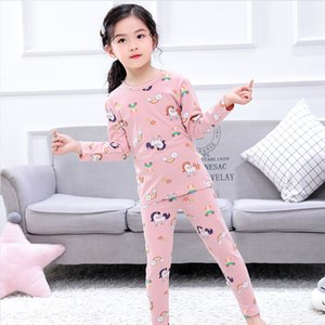chico pijamas al por mayor-Unicornio Impreso Pijama Dibujos animados Dinosaurio Manga Larga Tops Tops Pantalones Sleepwear Boy Girl Childrens Set Clothing SD G2