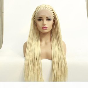 Wholesale platinum color wigs resale online - African Braided Wigs For African American Twist Braids Heat Resistant Platinum Blonde Color Synthetic Box Braided Lace Front Hair Wig