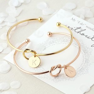 Wholesale customized bracelets resale online - Customized Personalized A Z Disc Initial Letter Knot Bangle Bracelet For Women Girl Gold Color