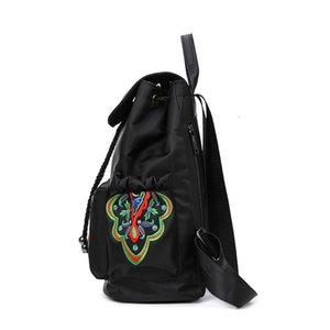 Wholesale chinese back packs resale online - Bag Style National Women Embroidered Backpack Butterfly Hot Chinese Female Nylon Vintage Back Pack College Students School Bags