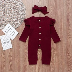 ruffle onesies großhandel-Baby Mädchen Solide Strampler Design Baumwolle Langarm Single Button Ruffle Overall Kinder Onesies Mädchen Outfits T Y2