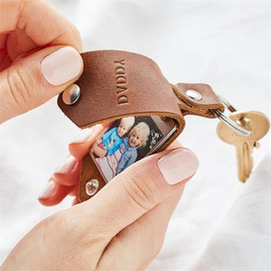 Wholesale key tags resale online - Creative Diy Leather Ring with Scratch Proof Photo Protective Cover Valentine s Day Gift Key Tag