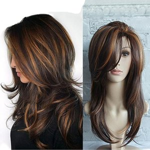 Wholesale long rose wig resale online - Women s Gradient Long Curly Rose Net Wig Set