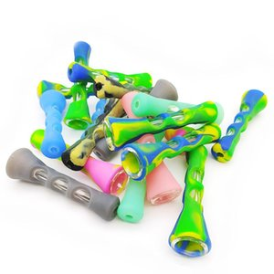 DHL Portable Mini Silicone Smoking Pipe 3.4 inches Cigarette Hand Pipes Glass Bongs Tobacco Cigarettes Holder