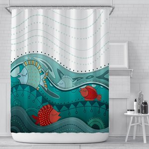 Wholesale farmhouse curtains for sale - Group buy Cartoon Fish Shower Curtain Waterproof Bathroom Toilet Laundry Room Home Decor Watertight Bath Farmhouse Curtains