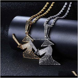 Wholesale alloy sword pendant for sale - Group buy Necklaces Character Warrior Holds Sword Man Pendant The Black And White Zircons Hiphop Necklace Lf2Bl Urhjg