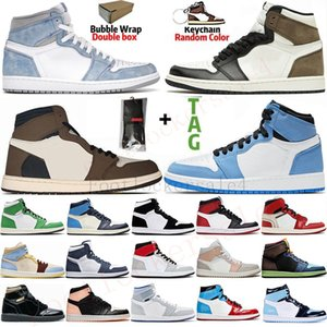 botas de caminhada venda por atacado-1s Travis Scott Tênis de basquete masculino Light Smoke Gray UNC Jumpman High Travis Scotts Mushroom Tênis Retro esportivos tamanho Chaussures