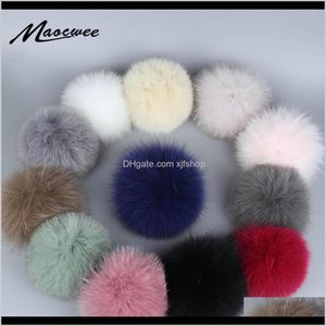 Wholesale fur craft resale online - Beanies Pom Balls Hat White Green Pink Colorful Pompons Diy Craft Supply Accessories Real Fur Bobbles Mzqyn Zxnuw