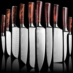 Wholesale red kitchen tools set for sale - Group buy NEW red handle Chef Knife Set Profession Japanese Kitchen Knives Laser Damascus Pattern Sharp Santoku Cleaver Slicing Utility Boning Knives Cooking Tools DH
