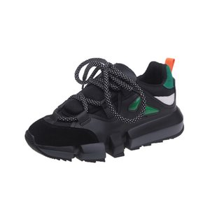 Wholesale lace old fashioned shoes for sale - Group buy 2020 Ulzzang Fashion Women Chunky Sneakers Platform Black Sports Breathable Old Dad Shoes Spring Female Lace Up Casual Shoes C0410