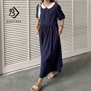 Wholesale dress pans for sale - Group buy Summer Solid Vintage Long Cotton Shirt Dress Women Short Sleeve Peter Pan Collar Loose Casual Maxi Dresses D12801X