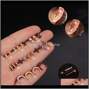 Wholesale children studs for sale - Group buy Eyebrow Body Drop Delivery Surgical Steel Moon Lighting Children Bar Ear Helix Tragus Stud Conch Earring Piercing Child Girl Jewelr
