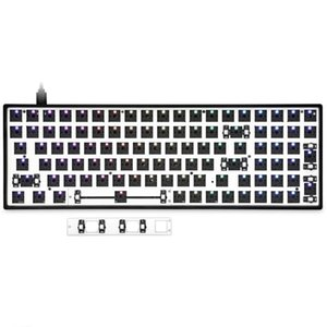 Wholesale software resale online - Gk96 Gk96x Swappable Custom Mechanical Keyboard Kit Support Rgb Switch Leds Type C Software Programmable Balck White Case Keyboards