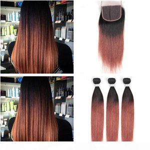 Wholesale 1b 33 ombre brazilian hair resale online - B Dark Auburn Ombre Straight Hair Bundles with Closure Copper Red Ombre Brazilian Human Hair Bundles with x4 Lace Front Closure