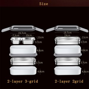 Wholesale lunch box adults for sale - Group buy Double Layer Lunch Box Portable Stainless Steel Eco Friendly Insulated Food Container Storage Bento Boxes with Keep warm Bag ZZE5611