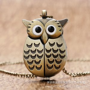 Wholesale owl pendant necklace watch for sale - Group buy Small owl sweater watch decorative Necklace Pendant pocket WatchCRSF