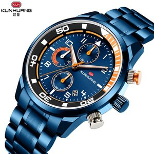 Wholesale wrist watches for men resale online - Luxury Chronograph Wrist Watch Top Brand Men Watchs Waterproof Quartz Watches All Steel For Montre Homme Reloj Wristwatches