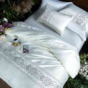 Wholesale silver king size comforter set resale online - White silver pink cotton imitate silk Bedding luxury queen king size bed Bedsheets linen embroidery Duvet cover Set